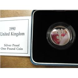 1990 UNITED KINGDOM SILVER PROOF 1 POUND COIN