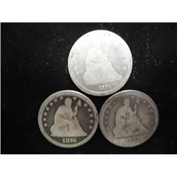1861,76 & 77-S SEATED LIBERTY QUARTERS