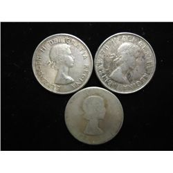 1960,60 & 61 CANADA SILVER 50 CENTS