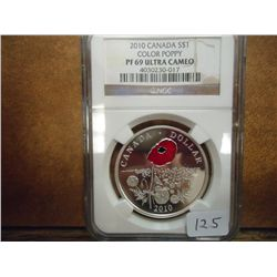 2010 CANADA $ COLOR POPPY NGC PF69 ULTRA CAMEO