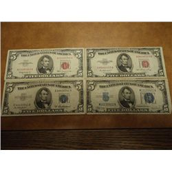 1934-C,53,53-A & 63 $5 SILVER CERTIFICATES & NOTES