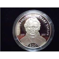 2000 LIBERIA $20 SILVER PROOF PRESIDENT TAYLOR
