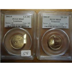 2002-P LOUISIANA & TENNESSEE QUARTERS PCGS MS65'S