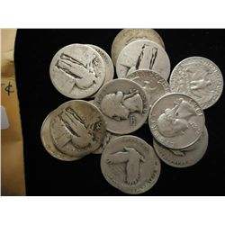 15 SILVER QUARTERS, 9 STANDING LIBS & 6 WASHINGTON
