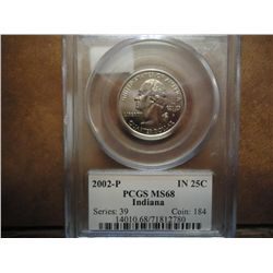 2002-P INDIANA QUARTER PCGS MS68
