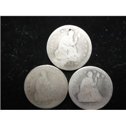 1853,54 & 57 SEATED LIBERTY QUARTERS