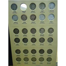 NEARLY COMPLETE MERCURY DIME COLLECTION