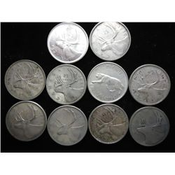 10 ASSORTED CANADIAN SILVER QUARTERS