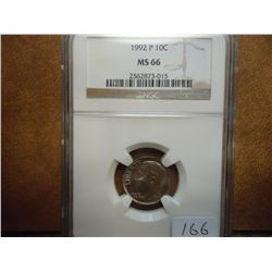 1992-P ROOSEVELT DIME NGC MS66
