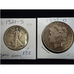 1921-S WALKING LIB & 1890-O MORGAN SILVER DOLLAR