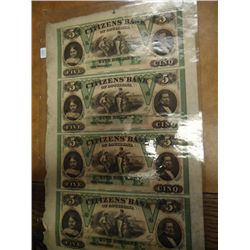 SCARCE 1857 UNCUT SHEET OF $5 CITIZENS BANK OF
