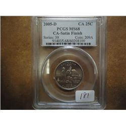 2005-D CALIFORNIA QUARTER PCGS MS68 SATIN FINISH