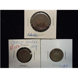 2 UNDATED SHIELD NICKELS & 1848 US LARGE CENT