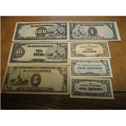 7 PIECES JAPANESE PHILIPINNES INVASION CURRENCY
