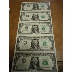 5-2003-A CONSECUTIVE LOW SERIAL # $1 FRN'S