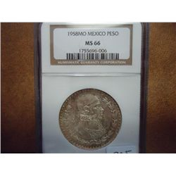 1958 MO MEXICO PESO NGC MS66