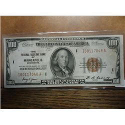 1929 $100 NATIONAL CURRENCY MINNAPOLIS BROWN SEAL