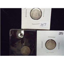 1853,58 & 91 SEATED LIBERTY DIMES