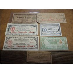 7 PIECES PHILIPINNES WWII GUERILLA MONEY