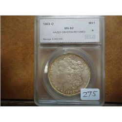 1903-O MORGAN SILVER DOLLAR SEGS MS62 HAZED OBV.