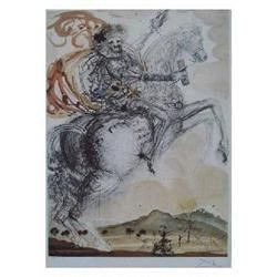 "Dali ""Don Quixote"" Ltd Edition Litho, W/COA. Plate signed & numbered. Size-33""x24"""