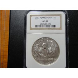 2007 JAMESTOWN $1 COMMEMORATIVE, NGC MS-69