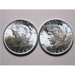 1923 & 1925 BU Peace Dollars MS60