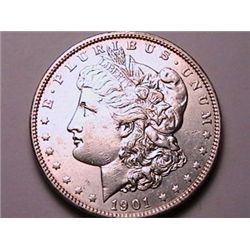 BETTER DATE 1901 Morgan Dollar AU50, Rare in this grade