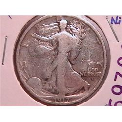 1917-D (O) Walking Half, Scarce Obverse Mint Mark