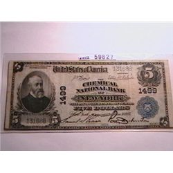 1902 $5 National Currency VF20 Chemical Bank of New York