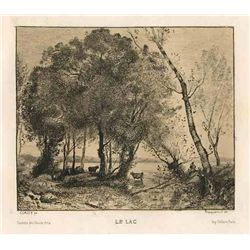 "Jean-Baptiste Corot Etching ""Le Lac"""