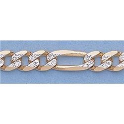 "Pure Gold 20"" 14k Gold-Yellow 5.9mm Rhod Figaro Chain"