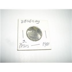 URUGUAY 2 PESOS LARGE *EXTREMELY RARE 1981 MNIT STATE GRADE - REAL NICE COIN*!!