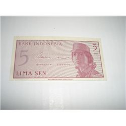 1964 INDONESIA 5 SEN NOTE *EXTREMELY RARE UNC HIGH GRADE*!!