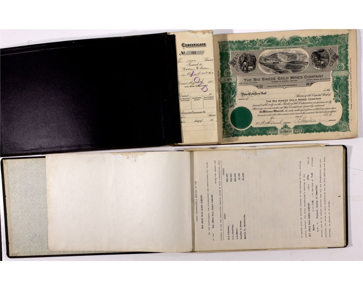 the big swede gold mines co stock certificates and meeting minutes