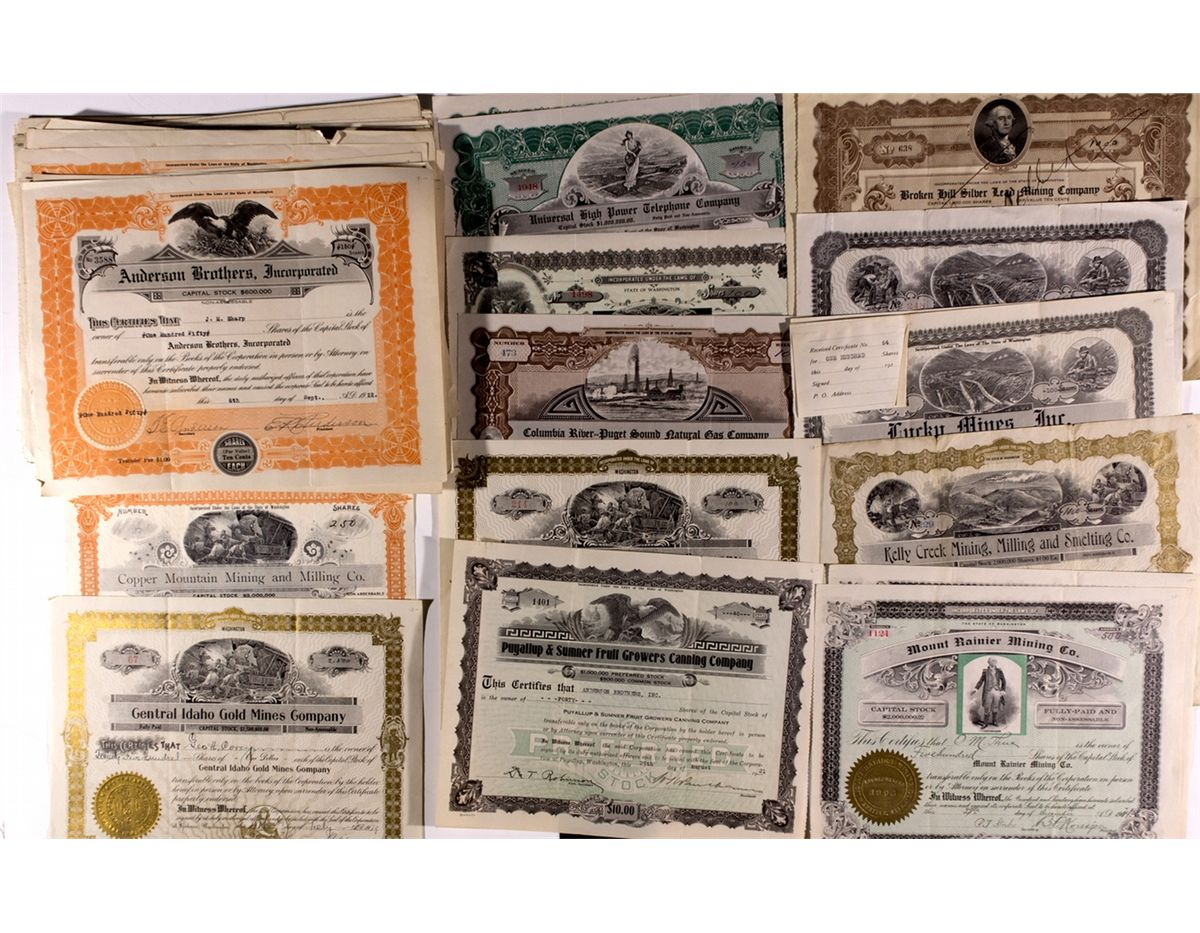 Washington Stock Certificate Collection Wa 2012aug General Americana