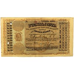 Rare First Day Postal Note AZ - Tucson,Pima County - 1883 - 2012aug - Numismatic