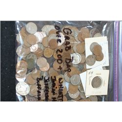 Grab Bag Various Coins To Include Lincoln Wheat Back Pennies, Indian Head One Cents, Jefferson Nicke