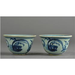 Pair of Chinese Qing Blue & White Porcelain Cups
