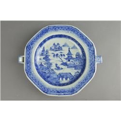 18th C. Chinese BW Octagon Food Warming Plate