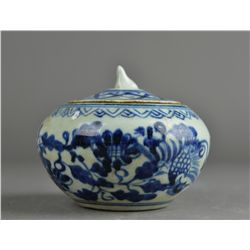 Chinese Qing Blue & White Porcelain Jar w/ Lid