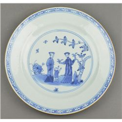 18th Century Chinese Blue & White Porcelain Plate