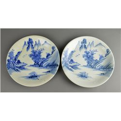 Set of Two Japanese Blue & White Porcelain Plates