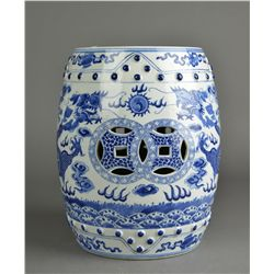 Chinese Blue & White Porcelain Garden Stool