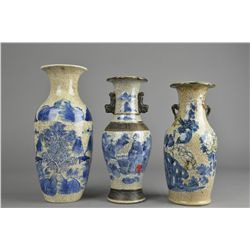 Set 3 Chinese Qing Export BW Vases w/ Cert.