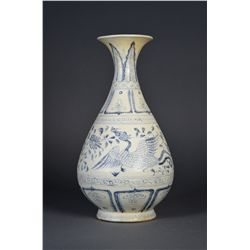 Chinese Blue & White Yuhu Vase