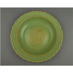 Chinese Song-Style Longquan Celadon Foliate Bowl