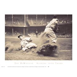 Joe DiMaggio Sliding Into Third Bettmann Baseball Print
