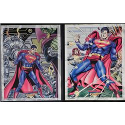 Two 11x14 Zenart Superman Movie Cards DC Comics 1993