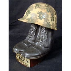 GI MILITARY BOOTS & CAMO HELMET JIM BEAM DECANTER 1984